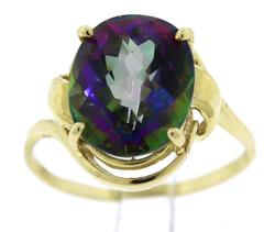 Beautiful Yellow Gold Mystic Topaz Ring