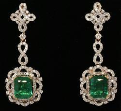Royal Emerald & Diamond Earrings, 14KT