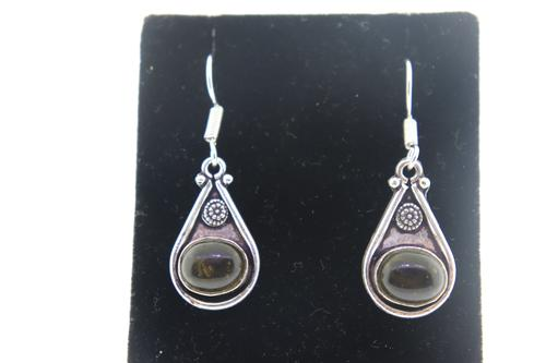 silvertone Gemstone Earrings