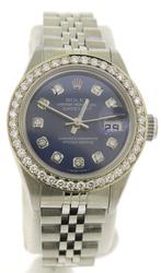 Rolex Datejust Steel Blue Diamond Dial Ladies Watch