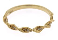 Fantastic Yellow Gold Diamond Wave Band