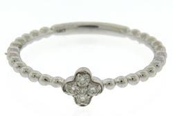Modern White Gold Diamond Cluster Clover Ring