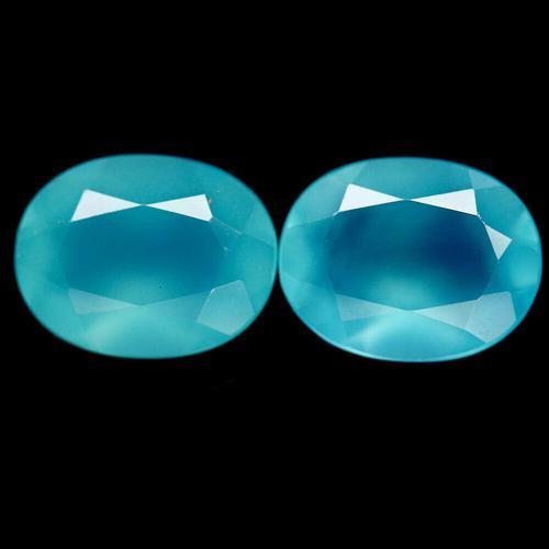 Beautiful 3.13ct pair of aqua blue Chalcedony