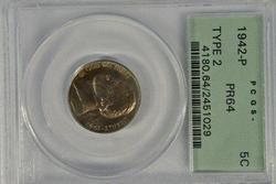 Near Gem PRF 1942-P Silver Jefferson Nickel. PCGS PR64