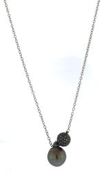 Samira 13 Tahitian Pearl and Pave Diamond Ball Necklace