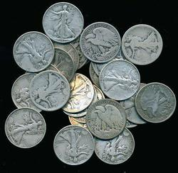 25 Assorted mixed date Walking Liberty Half Dollars