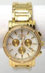 Invicta Gold-Plated Chronograph Watch, MOP Dial