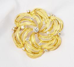 Gorgeous .35 Ct. TW Diamond Swirl Brooch in 18K