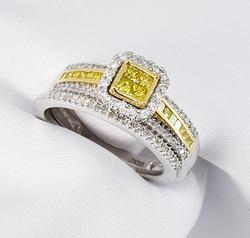 Nice Y&W Diamond Engagement & Band Set in 14K W&YG