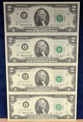 4 NOTE $2 STAR UNCUT SHEET SERIES 1976 SAN FRANCISCO