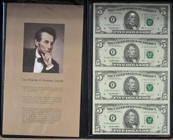 $5 UNCUT SHEET SERIES 1995 ATLANTA FED IN FANCY HOLDER
