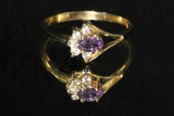 Delicate Natural Diamond & Amethyst Ring
