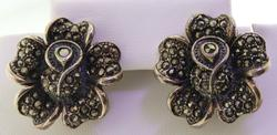 Sterling Silver Marcasite Flower Earrings