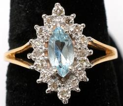 Blue Topaz Ring with Diamond Accents in 14KT Yellow Gold