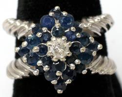 Unique 14KT White Gold Sapphire & Diamond Ring