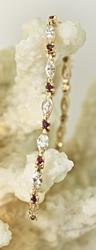 Stunning Marquise Diamond & Ruby 14K Bracelet