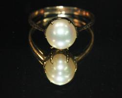 Vintage Cultured Pearl Ring in 18k
