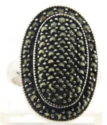 Oval Marcasite Sterling Silver Ring
