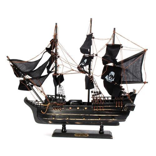 Black Model Pirate Ship Vintage Wooden Decorations