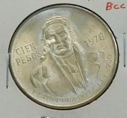 1978 Silver Mexico 100 (Cien) Pesos, 27.77 grams total.