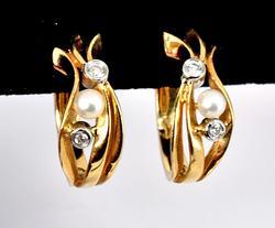Feminine Pearl & Diamond Hoop Earrings
