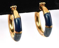 Italian Made Enamel Hoop Earrings