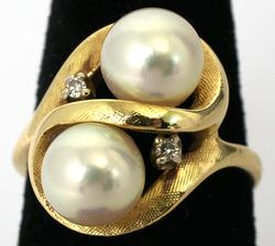 Unique 14KT Pearl Ring with Diamond Accents