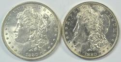 Nice BU 1880-P & 1880-S Morgan Silver Dollars