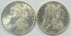 Choice BU 1882-P & 1882-O Morgan Silver Dollars