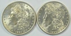Choice BU 1887-P and 1890-P Morgan Silver Dollars