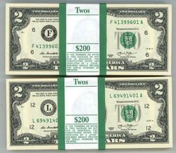2 Gem Packs 100 Series 2013 $2 Bills in Sequence (F&L)