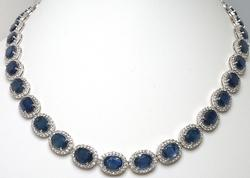 Incredible Blue & White Sapphire Necklace in Sterling Silver