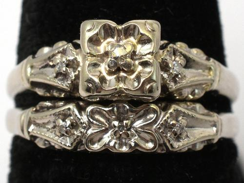 Vintage 14KT Wedding Set with Diamond Accents