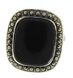 Black Onyx and Marcasite Halo Sterling Silver Ring
