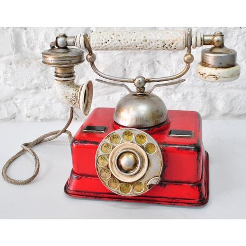 Red German Rotary Dial Phone Sculpture