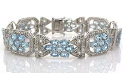 Fantastic Flower-Theme Aquamarine & Diamond Bracelet, Sterling Silver`