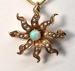 Vintage Opal & Seed Pearl Starburst Brooch