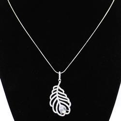 Designer Sterling Feather Pendant Necklace