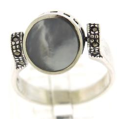 Sterling Silver Black Onyx and Mop Reversible Ring