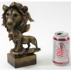 Male Lion Bust Cold Cast Sculpture