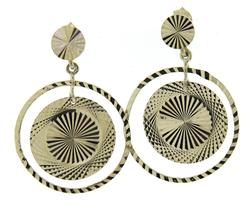 Pretty White Gold Diamond Cut Disc Earrings