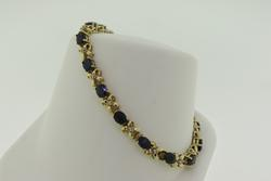 Pretty Blue Sapphire & Diamond Bow Link Line Bracelet
