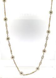 Elegant 7.5mm Pearl Station & Filagree Necklace