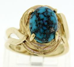 Fantastic Yellow Gold Turquoise Domed Ring