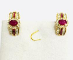 14kt Gold, Ruby, & Diamond Earrings