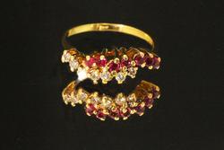 Undulataing Natural Ruby & Diamond Ring in 18k