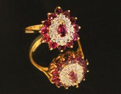 Bright Natural Ruby & Diamond Ring in 10k