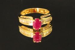 Graceful Natural Ruby & Diamond Ring in 14k