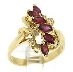 Fabulous 14kt Rhodolite & Diamond Waterfall Ring