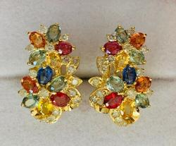 14kt Gold, Sapphire, & Diamond Earrings